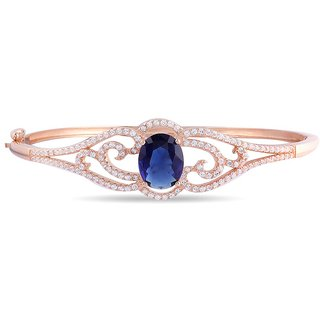 Lucera Rhodium Plated Pink Sterling Silver Bangle For Women-GF21721P