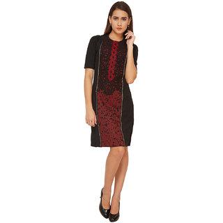 Soie Maroon Self Design Round Neck A-line Polyester Dress