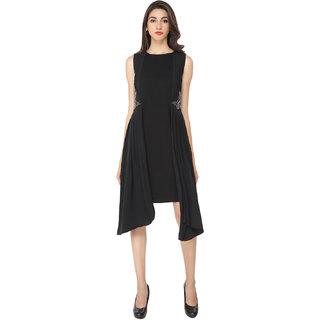 Soie Black Solid Round Neck A-line Georgette Dress