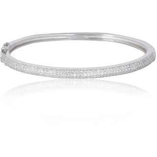 Lucera Rhodium Plated White Sterling Silver Bangle For Women-GF21964W