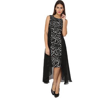 Soie Black Self Design Round Neck A-line Georgette Dress