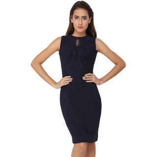 Soie Blue Self Design Round Neck A-line Polyester Dress