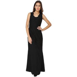 Soie Black Lace Round Neck A-line Georgette Dress