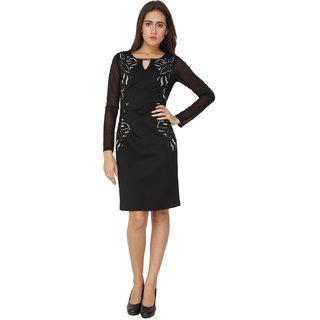 Soie Black Solid Round Neck Bodycon Polyester Dress