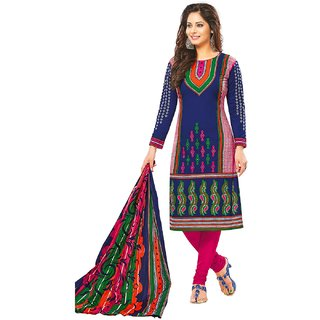 Jevi Prints Blue Printed Unstitched Cotton Salwar Suit with Dupatta
