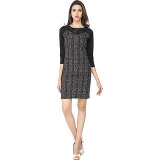 Soie Black Self Design Round Neck A-line Polyester Dress