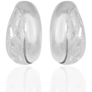 Hoop Rhodium Plated White Sterling Silver Earring For Women-EF23884