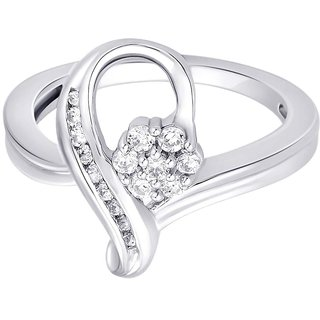 Lucera Rhodium Plated WhiteSterling Silver Ring For Women-RF4761
