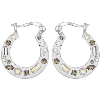 Love Universe Rhodium Plated White Sterling Silver Earring For Women-EF16404