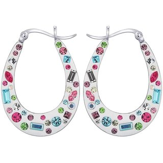 Love Universe Rhodium Plated White Sterling Silver Earring For Women-EF16405