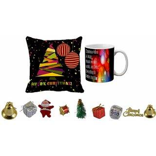 meSleep Merry Christmas Cushion Cover , Mug and 10pc Christmas Decoration Combo