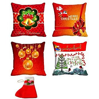 meSleep Cushion Covers Set of 4 (16x16) with Christmas Stocking