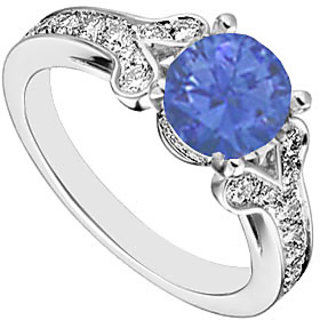 Sterling Silver Blue Sapphire & Cubic Zirconia Engagement Ring 4.00 CT TGW
