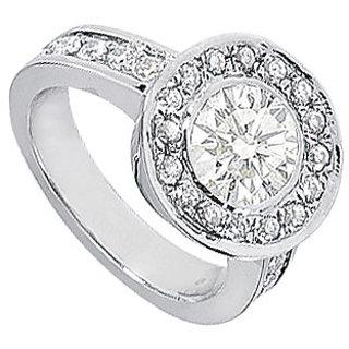 Cubic Zirconia Engagement Ring 14K White Gold 3.00 CT TGW (Option - 3)