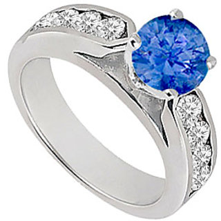 Sapphire And Diamond Engagement Ring 14K White Gold 0.75 CT TGW