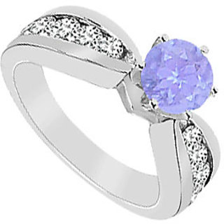 Created Tanzanite And Cubic Zirconia Engagement Ring 10K White Gold 1.75 CT TGW
