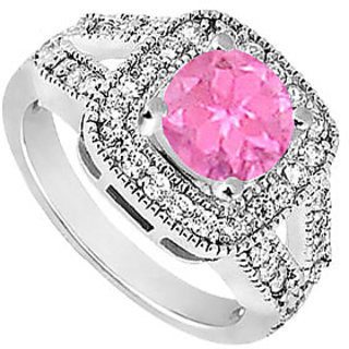 Pink Sapphire & Cubic Zirconia Engagement Ring 1.25 CT TGW Option 3