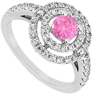 Created Pink Sapphire And Cubic Zirconia Ring 10K White Gold 1.75 CT TGW