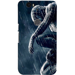 ColourCrust Huawei Google Nexus 6P Mobile Phone Back Cover With Black Spiderman - Durable Matte Finish Hard Plastic Slim Case