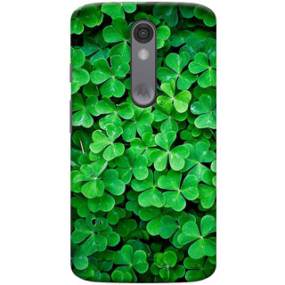 ColourCrust Motorola Moto X Force Mobile Phone Back Cover With Green Flower Shape Leaves - Durable Matte Finish Hard Plastic Slim Case