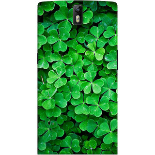 ColourCrust OnePlus One Mobile Phone Back Cover With Green Flower Shape Leaves - Durable Matte Finish Hard Plastic Slim Case