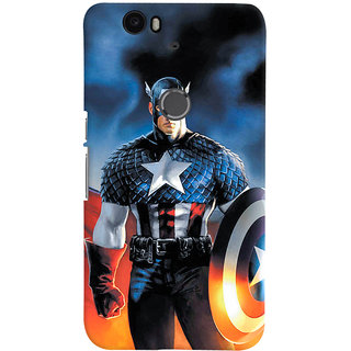 ColourCrust Huawei Google Nexus 6P Mobile Phone Back Cover With Captain America - Durable Matte Finish Hard Plastic Slim Case