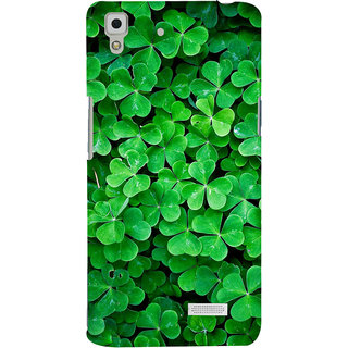 ColourCrust Oppo R7 Mobile Phone Back Cover With Green Flower Shape Leaves - Durable Matte Finish Hard Plastic Slim Case