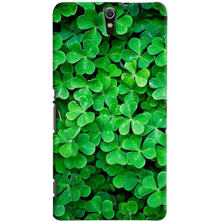 ColourCrust Sony Xperia C5 /Ultra Dual Sim Mobile Phone Back Cover With Green Flower Shape Leaves - Durable Matte Finish Hard Plastic Slim Case