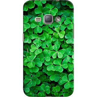 ColourCrust Samsung Galaxy J1 (2016 Edition) Mobile Phone Back Cover With Green Flower Shape Leaves - Durable Matte Finish Hard Plastic Slim Case
