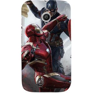 ColourCrust Motorola Moto E Mobile Phone Back Cover With Iron man vs Captain America - Durable Matte Finish Hard Plastic Slim Case