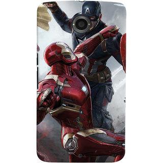 ColourCrust Motorola Google Nexus 6 Mobile Phone Back Cover With Iron man vs Captain America - Durable Matte Finish Hard Plastic Slim Case