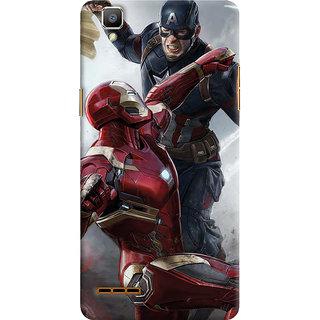 ColourCrust Oppo F1 Mobile Phone Back Cover With Iron man vs Captain America - Durable Matte Finish Hard Plastic Slim Case