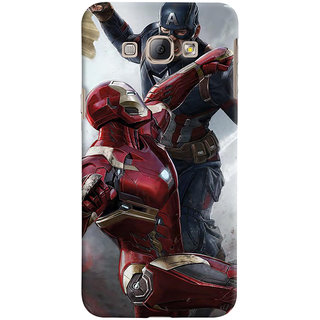 ColourCrust Samsung Galaxy A8 (2015) Mobile Phone Back Cover With Iron man vs Captain America - Durable Matte Finish Hard Plastic Slim Case