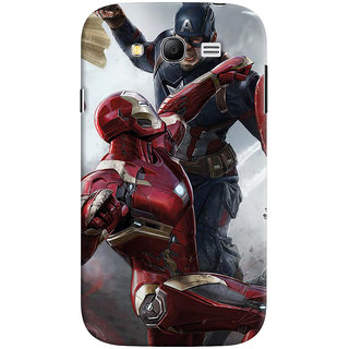ColourCrust Samsung Galaxy Grand Duos / i9082 Mobile Phone Back Cover With Iron man vs Captain America - Durable Matte Finish Hard Plastic Slim Case