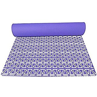 Gravolite Triangle Print Design Yoga Mat 6.5 Feet Length & 2 Feet Wide, 9 MM Thickness (Purple) with Strap & Yoga Bag