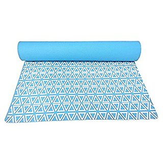 Gravolite Triangle Print Design Yoga Mat 6 Feet Length & 2.3 Feet Wide, 7 MM Thickness Sky Blue with Strap & Yoga Bag