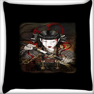 Snoogg Samurai Girl 20 X 20 Inch Throw Pillow Case Sham Pattern Zipper Pillowslip Pillowcase For Drawing Room Sofa Couch Chair Back Seat