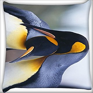 Snoogg Penguins 24 X 24 Inch Throw Pillow Case Sham Pattern Zipper Pillowslip Pillowcase For Drawing Room Sofa Couch Chair Back Seat