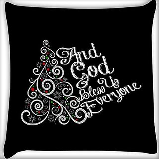 Snoogg God Bless You Everyone 12 X 12 Inch Throw Pillow Case Sham Pattern Zipper Pillowslip Pillowcase For Drawing Room Sofa Couch Chair Back Seat