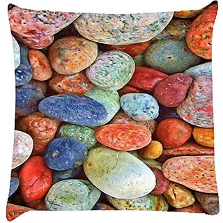 Snoogg Colourful Stones Digitally Printed Cushion Cover Pillow 14 X 14 Inch