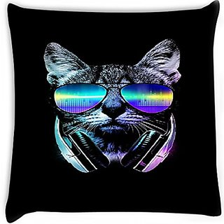 Snoogg Cat With Glares 24 X 24 Inch Throw Pillow Case Sham Pattern Zipper Pillowslip Pillowcase For Drawing Room Sofa Couch Chair Back Seat