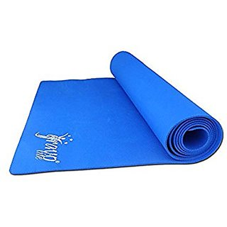 Gravolite 7 MM Thickness & 28 Inch Wide * 78 Inch Length Plain Yoga Mat Blue Color with Strap