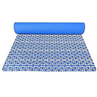 Gravolite Triangle Print Design Yoga Mat 6 Feet Length & 2.5 Feet Wide, 8 MM Thickness (German Blue) with Strap & Yoga Bag