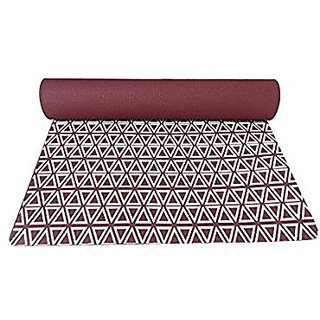 Gravolite Triangle Print Design Yoga Mat 6 Feet Length & 2.3 Feet Wide, 9 MM Thickness Cherry with Strap & Yoga Bag