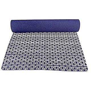 Gravolite Triangle Print Design Yoga Mat 6 Feet Length & 2 Feet Wide, 10 MM Thickness Navy Blue with Strap & Yoga Bag