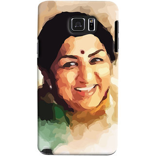 ColourCrust Samsung Galaxy Note 5 Mobile Phone Back Cover With Lata Mangeshkar - Durable Matte Finish Hard Plastic Slim Case