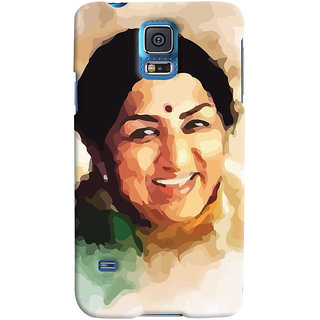 ColourCrust Samsung Galaxy S5 Mobile Phone Back Cover With Lata Mangeshkar - Durable Matte Finish Hard Plastic Slim Case
