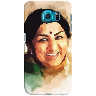 ColourCrust Samsung Galaxy S6 Mobile Phone Back Cover With Lata Mangeshkar - Durable Matte Finish Hard Plastic Slim Case