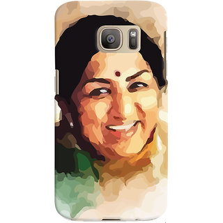 ColourCrust Samsung Galaxy S7 Mobile Phone Back Cover With Lata Mangeshkar - Durable Matte Finish Hard Plastic Slim Case