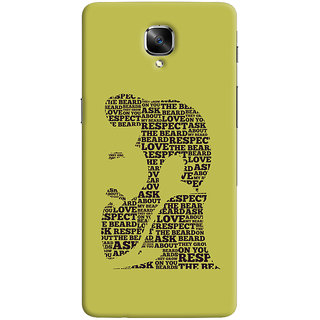 ColourCrust OnePlus 3 Mobile Phone Back Cover With Beard Love Quirky - Durable Matte Finish Hard Plastic Slim Case